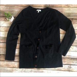 Joie Cashmere Merino Black Cardigan Sweater Soft